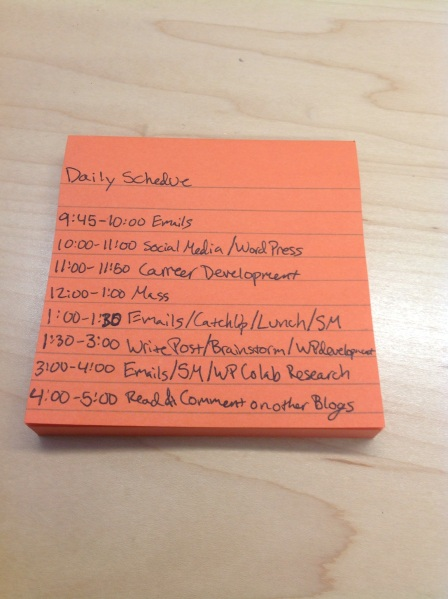 My Daily Post It Note Schedule